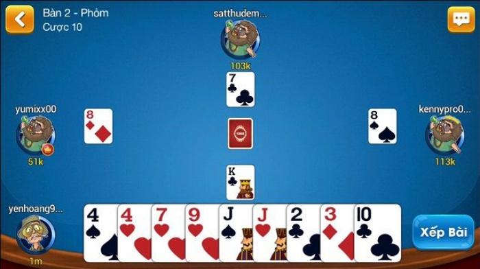 Giao diện game đánh bài Phỏm bắt mắt
